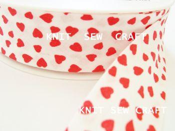 red hearts pattern cotton bias binding