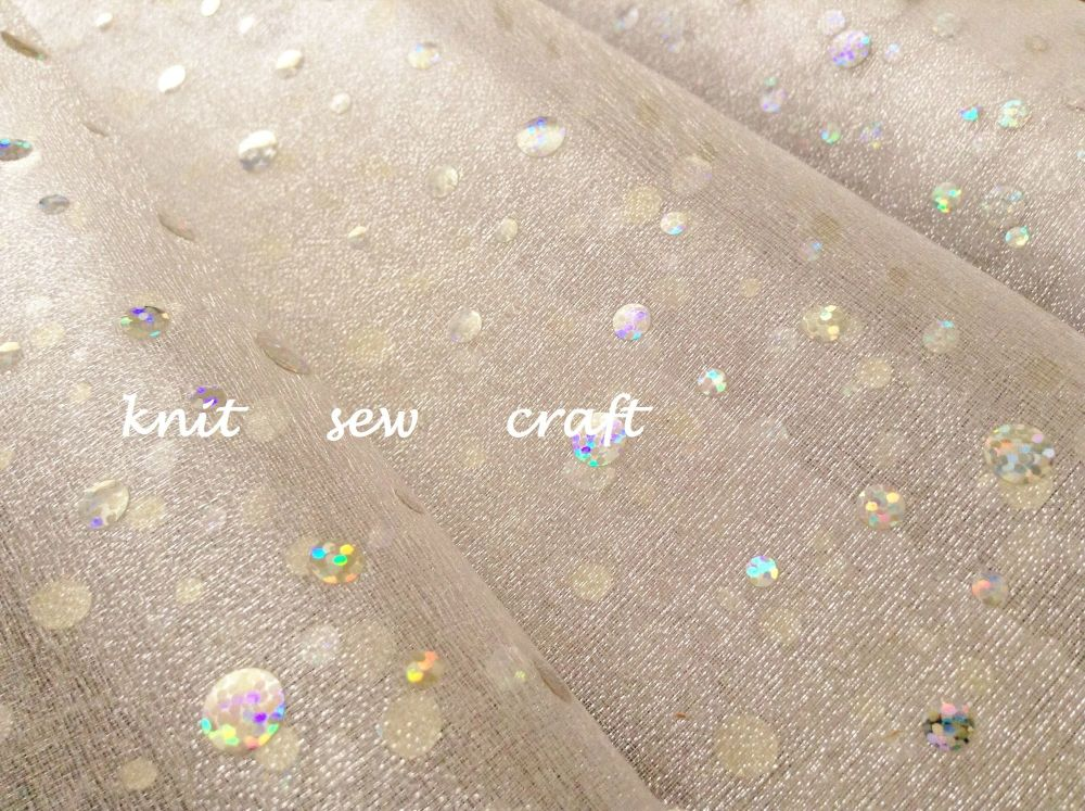 Organza Fabric By The Metre Ivory Holographic Polka Dots Material