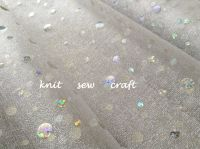 Organza By The Metre White Holographic Silver Polka Dots Pattern