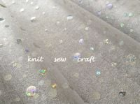 Holographic Organza Fabric White With Silver Dots Oaktree Eleganza