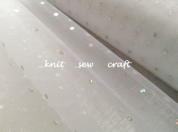 Organza Glitter Dots Snow Sheer Fabric White Silver
