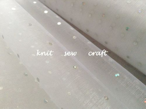 Organza Glitter Dots Snow Sheer Fabric White Silver CGC67