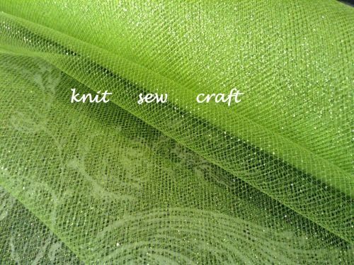 Lime Sparkle Net 30cm Wide Glitter Net 1m Club Green for Crafts Bows