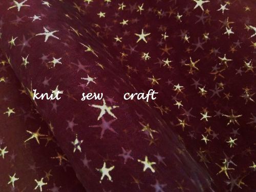 maroon red sheer organza gold foil stars print fabric Club Green x 1m