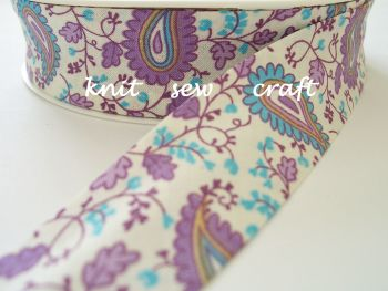 purple paisley bias trim