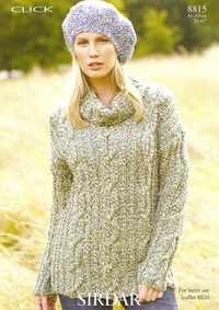 Sirdar Click Chunky Knitting Pattern Ladies Cabled Sweater