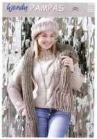 Wendy Pampas Knitting Pattern Cable Sweater, Hat, Scarf