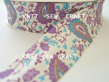 purple paisley printed cotton bias binding tape 25mm x 25 metres