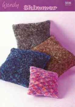 Wendy Shimmer Velvet Touch Knitting Pattern 5036 Cushion Covers