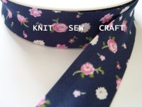 Pink And White Flower Pattern Navy Sewing Tape 883-2322 Reel