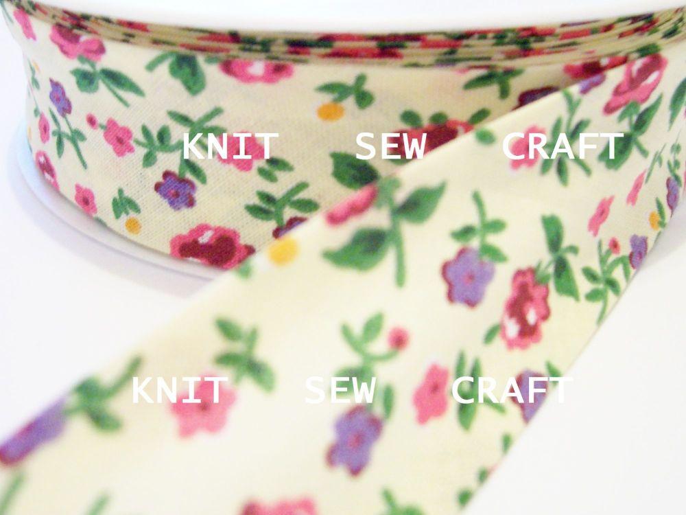 flower patterned cream bias binding 25 metre reel 883-2333