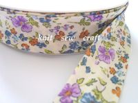 patterned cotton fabric tape - blue and lilac flowers 883-1178