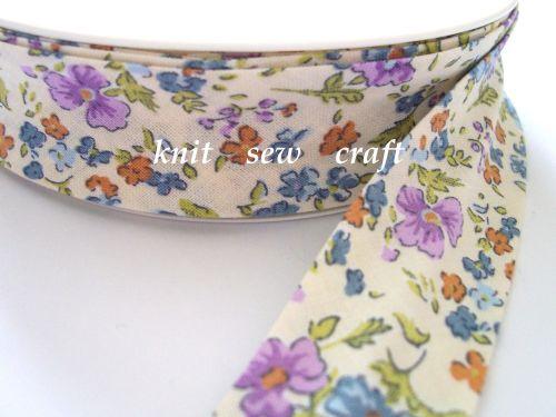 blue lilac flower print cotton bias binding 25mm x 25mtr 1178