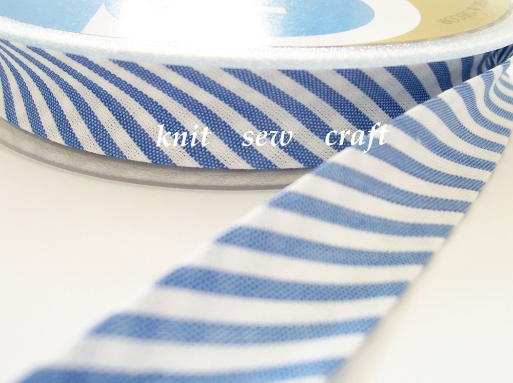 striped bias binding 18mm fabric trimming blue white candy stripe 016
