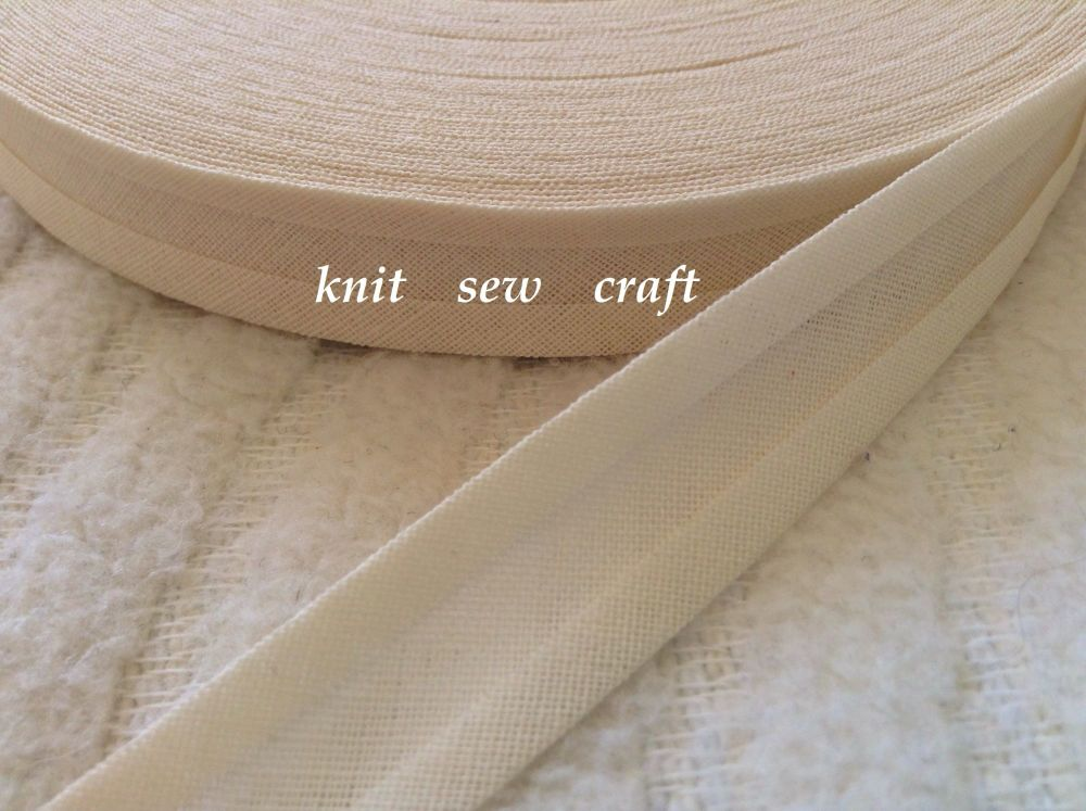 cream bias binding 15mm double folded cotton tape trimming 33 metres