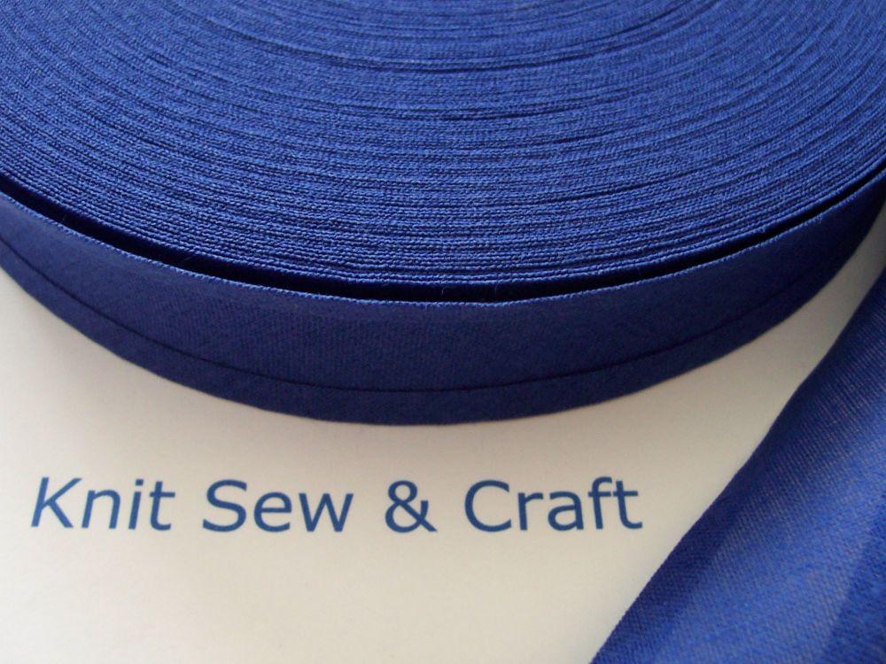Indigo Blue Cotton Bias Binding 50 Metre Reel