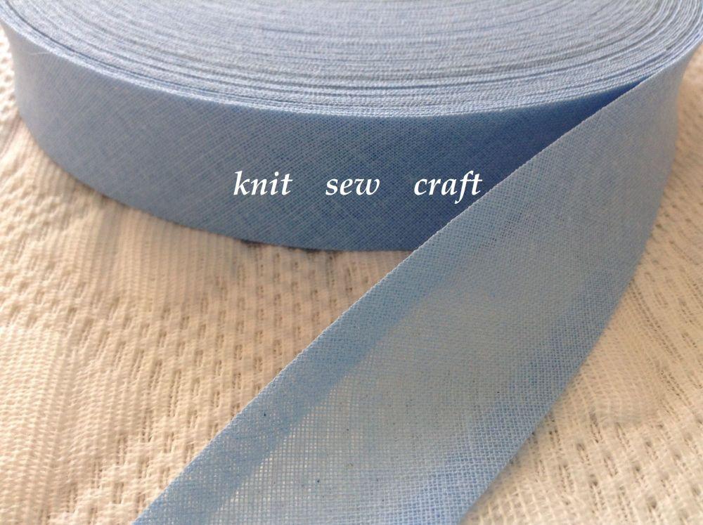 mid blue cotton bias binding 3 metres x 25mm Q6060