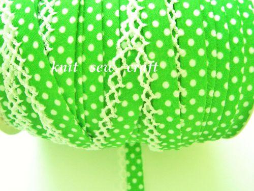 Lace Edge Polka Dots Bias Binding Fabric 1 metre LIME GREEN WHITE 13MM