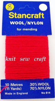 10 Metres of Stancraft Sock Darning Wool: RED