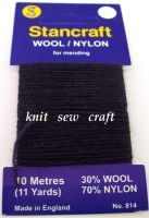 Navy Blue Darning Wool - Stancraft Mending Thread