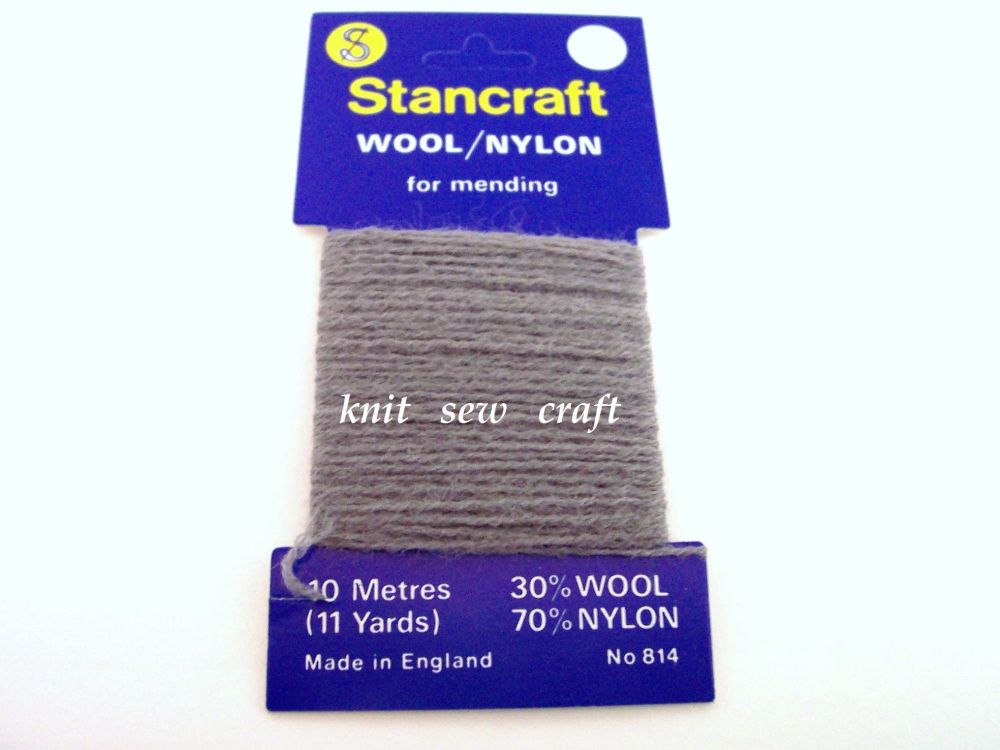 10 Metres of Stancraft Sock Darning Wool: MID GREY