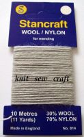 Light Grey Sock Darning Wool - Stancraft Mending Thread