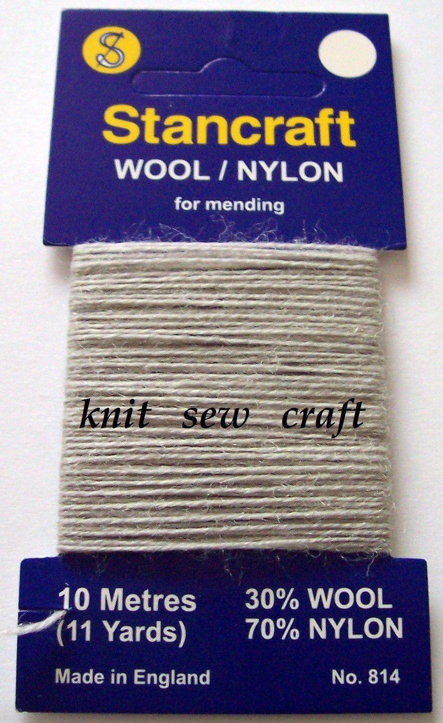 10 Metres of Stancraft Sock Darning Wool: LIGHT GREY