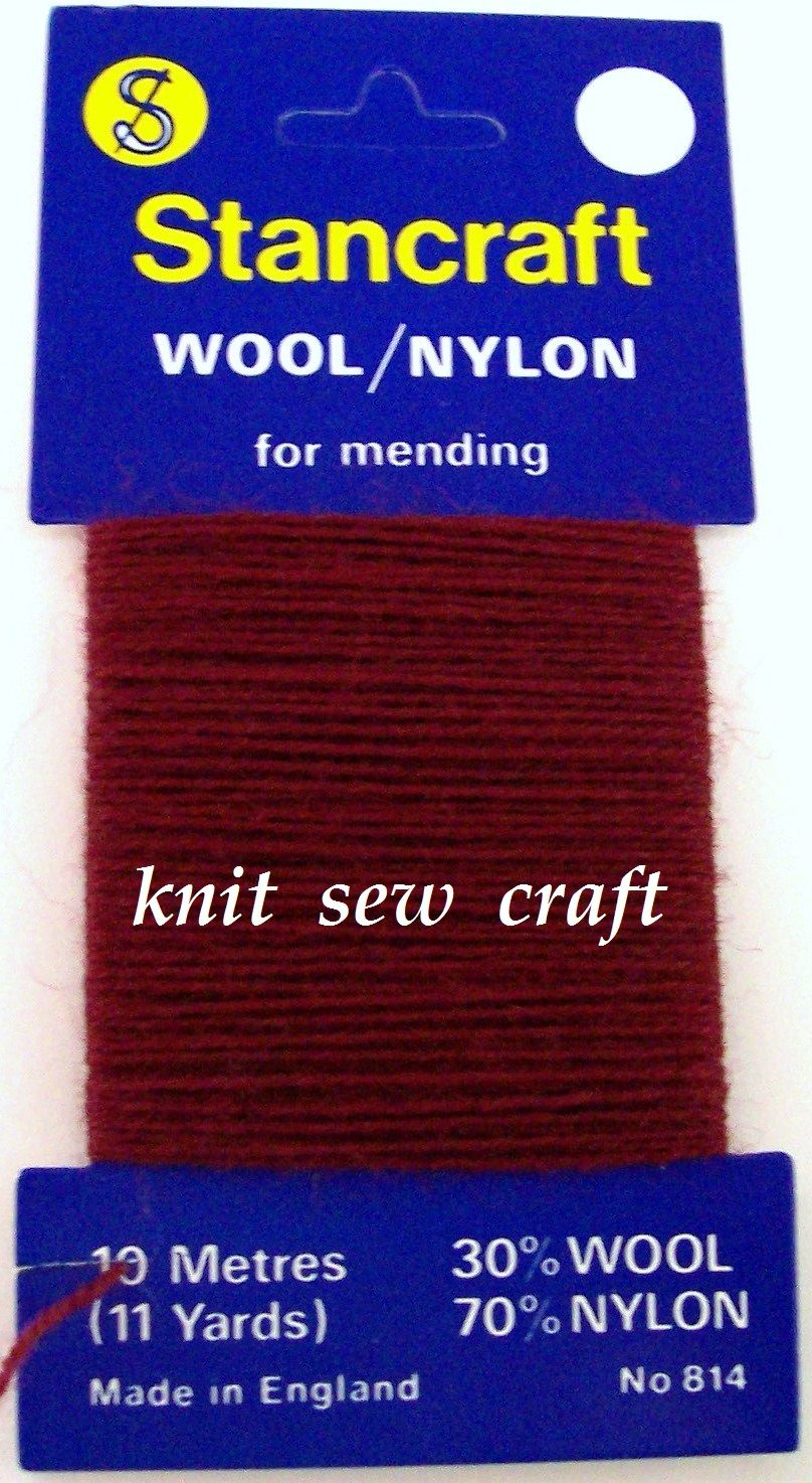 10 Metres of Stancraft Sock Darning Wool MAROON RED