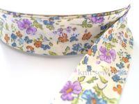 blue lilac flower print cotton bias binding 25mm x 3mtr 1178