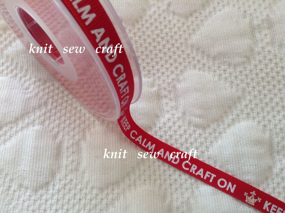 10mm Keep Calm Craft On Ribbon Red Gold White Printed Text Grosgrain