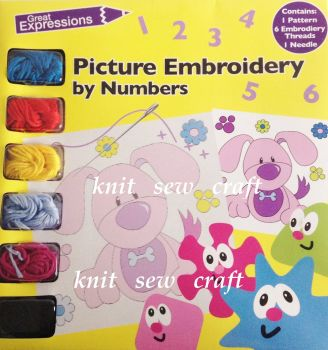 Embroidery by Numbers Kit 6 Coloured Threads Needle Picture Pattern