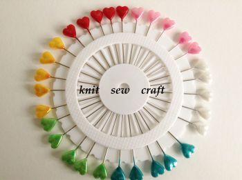 Heart Pins Sewing Fabrics Craft Pin Wheel 30 Heart Shaped Pins