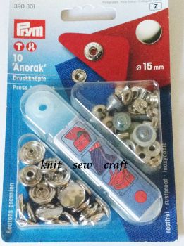 Prym Press Snap Fasteners 15mm Anorak 390301 SILVER