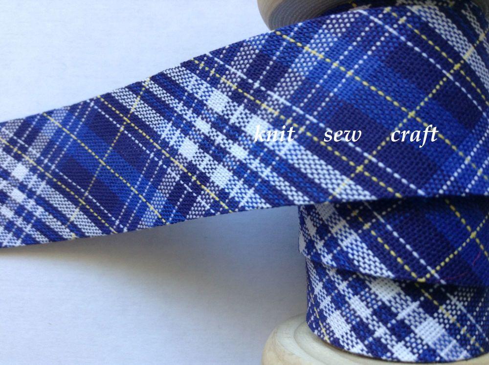 Tartan Bias Fabric Royal Blue White Yellow Navy Check Sewing Tape 1327