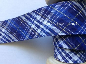 Tartan Bias Fabric Royal Blue White Yellow Navy Check Sewing Tape 1327