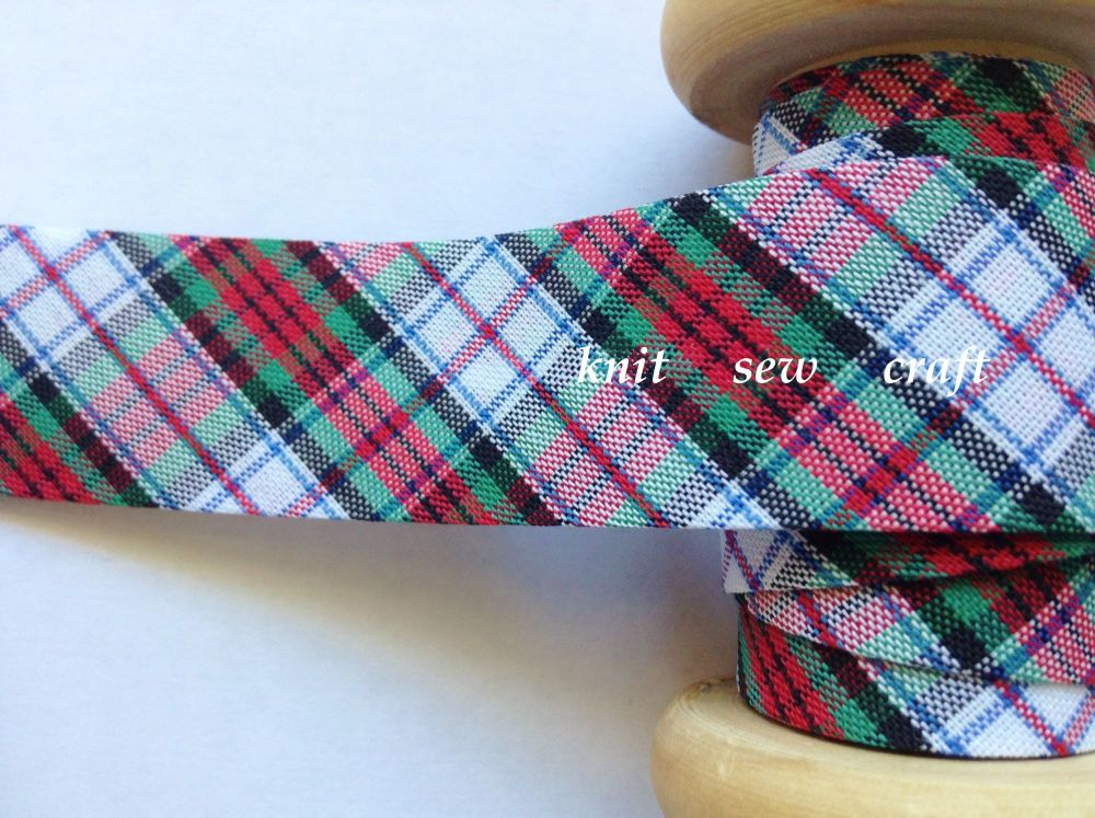 Tartan Bias Binding White Black Blue Red Green Check Fabric 25mm 0147