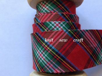 Tartan Bias Binding Red Green White Black Blue Yellow Check 25mm 0146