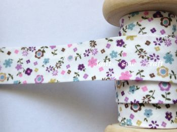pink lilac and purple flower print bias binding 18mm wide