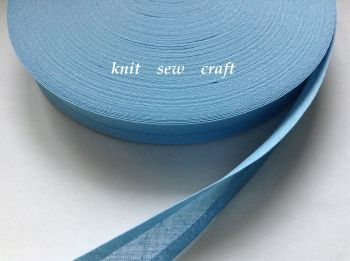 sky blue bias binding 15mm double folded cotton tape trimming 33 mtrs