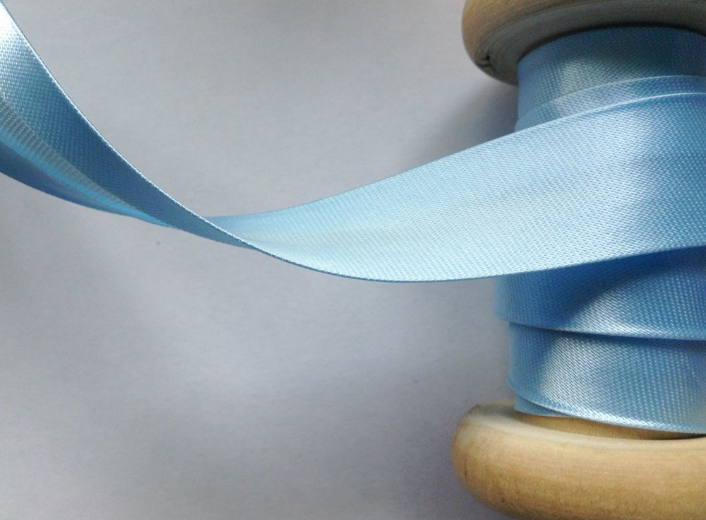 Satin Bias Binding Ribbon Light Blue Per Half Metre Length