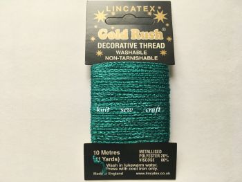jade green metallic sewing thread 10 metres Lincatex Gold Rush