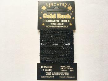 black metallic glitter sewing thread 10 metres Lincatex Gold Rush