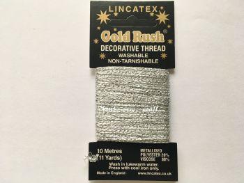 silver colour metallic sewing thread 10 metres Lincatex Gold Rush