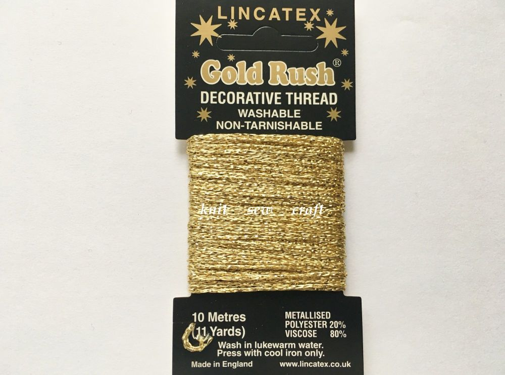 light gold decorative metallic glitter thread 10 metres Lincatex