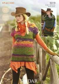 Sirdar Indie Knitting Pattern 9319 Ladies Tunics