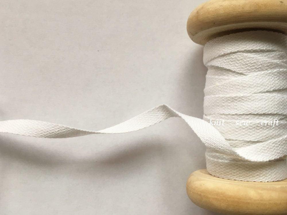 6mm White Cotton Tape  - 10 metres