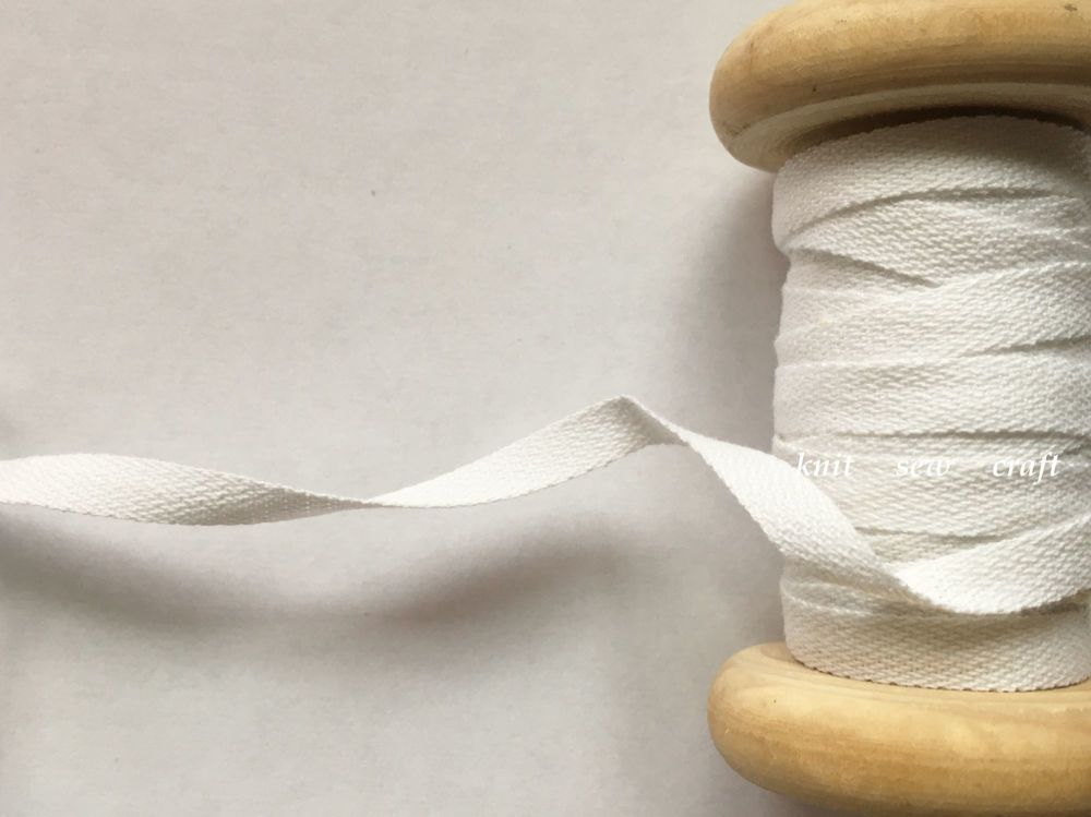 6mm Wide White Bunting Tape 100% Cotton Twill