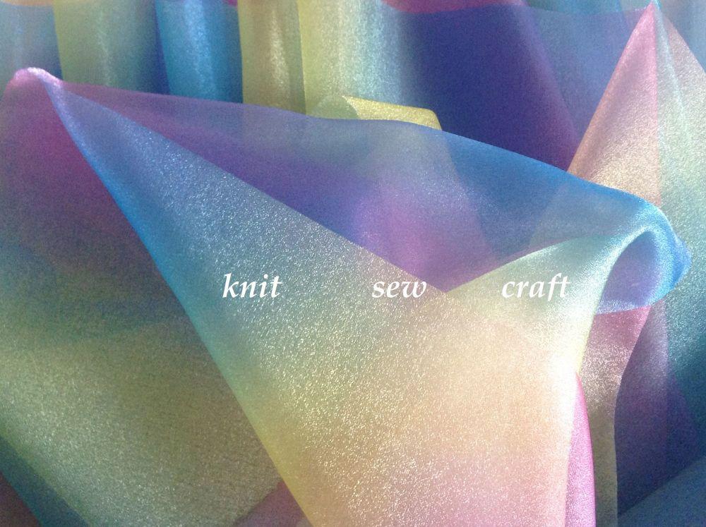 Rainbow Sheer Organza Voile Fabric
