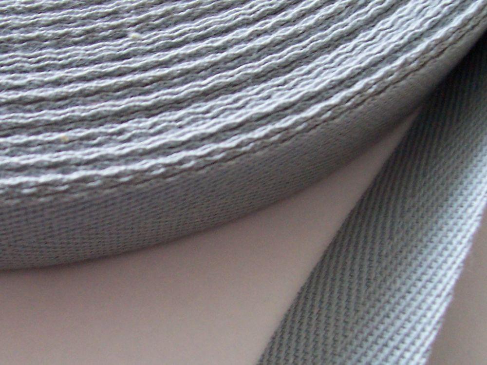 Grey Webbing - Woven 20mm Wide Herringbone Tape