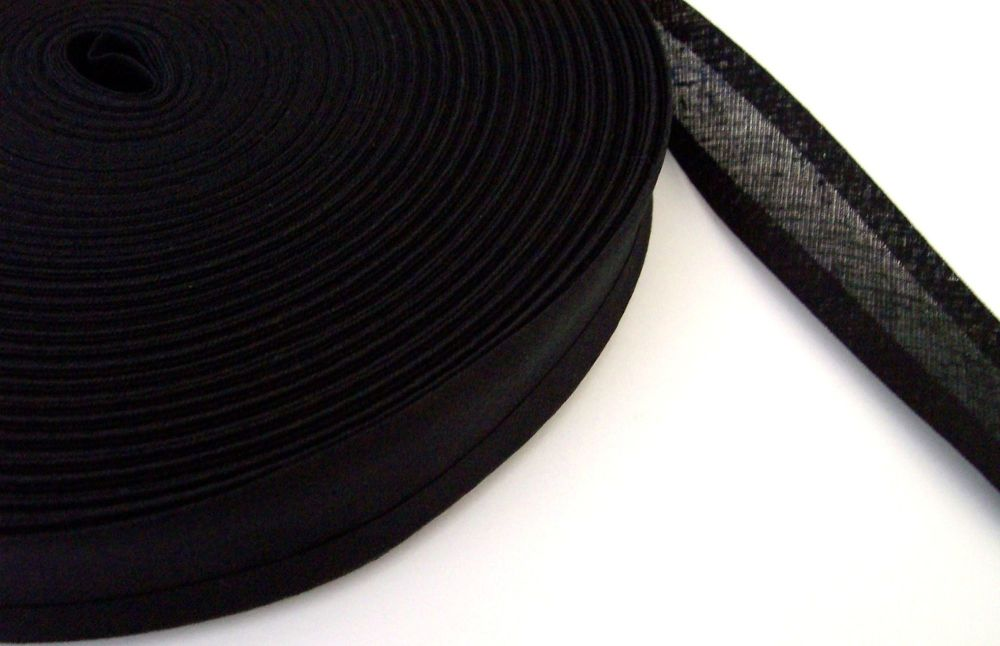 black bias binding 1 metre x 25mm 100% cotton double folded tape